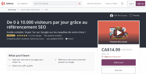 Cours SEO Udemy